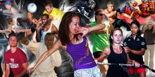 Collage of differents campus rec activities.