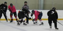 Faceoff at Intramural Hockey.